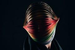 Femme avec quilling coloré de papier sur la tête Images stock