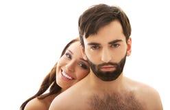 Femme avec sa tête sur le dos de l'homme Images stock