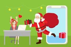 Femme avec Santa Image stock