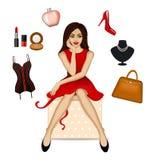 Femme avec ses choses préférées Images libres de droits