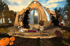 Femme avec son chien posé à la campagne dans une maison rurale avec d'autres animaux et nature riche Comme une carte postale wond illustration de vecteur