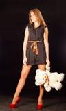 Femme avec teddybear Images libres de droits