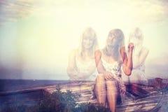 Femme avec trois émotions différentes Photo libre de droits