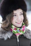 Femme avec un beau sourire large Photo stock