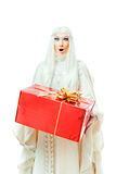 Femme avec un cadeau Photo stock