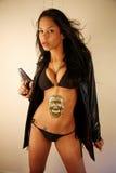 Femme avec un canon Photographie stock libre de droits
