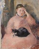 Femme avec un chat, peignant par Eduard Monet photos stock