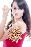 Femme avec un groupe de bagels images stock