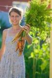 Femme avec un groupe de carottes Image libre de droits