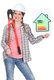 Femme avec un panem de notation d'énergie photographie stock libre de droits