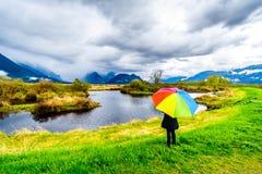 Femme avec un parapluie color? par arc-en-ciel sous les nuages de pluie fonc?s une journ?e de printemps froide aux lagunes du mar photos stock