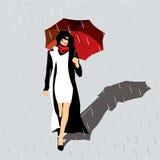 Femme avec un parapluie rouge Photographie stock libre de droits