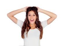Femme avec un regard de surprise Images stock