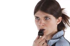 Femme avec un sifflement Photos libres de droits