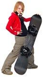 Femme avec un snowboard Image libre de droits