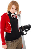 Femme avec un snowboard Photos libres de droits