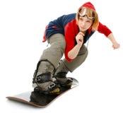 Femme avec un snowboard Photo libre de droits