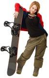 Femme avec un snowboard Photo stock