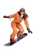 Femme avec un snowboard d'isolement sur le blanc Images libres de droits