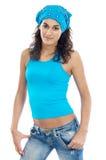 Femme avec une écharpe sur la tête Photographie stock libre de droits