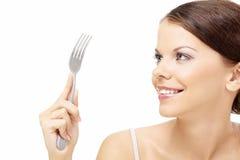 Femme avec une fourchette photo libre de droits