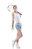 Femme avec une raquette de tennis sur le blanc Photo libre de droits