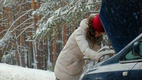Femme avec une voiture de paille sur la route en hiver banque de vidéos