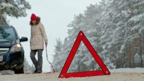 Femme avec une voiture de paille sur la route en hiver clips vidéos