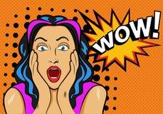 Femme avec wouah le signe Illustration de vecteur dans le bruit illustration stock