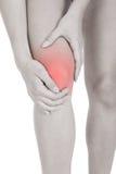 Femme ayant la blessure à la jambe Photographie stock libre de droits