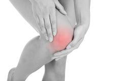 Femme ayant la blessure à la jambe Photos stock