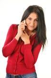 Femme ayant la conversation téléphonique image libre de droits