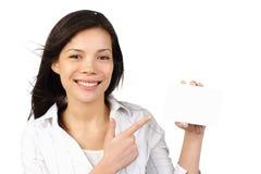 femme blanc de signe vide de carte Photographie stock libre de droits