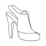 femme blanche d'isolement de chaussure de talon de fond haute Chaussure avec le talon stylet Illustrat de mode Image libre de droits