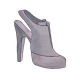 femme blanche d'isolement de chaussure de talon de fond haute Chaussure avec le talon stylet Illustrat de mode Photographie stock libre de droits