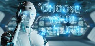 Femme blanche de cyborg employant le rende de l'interface 3D des textes de future décision illustration libre de droits
