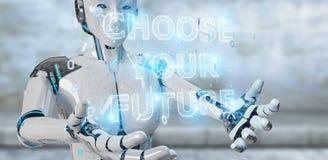 Femme blanche de cyborg employant le rende de l'interface 3D des textes de future décision illustration de vecteur