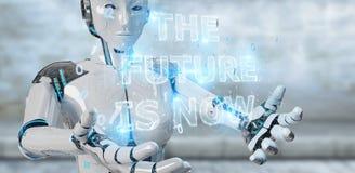 Femme blanche de cyborg employant le rende de l'interface 3D des textes de future décision illustration stock