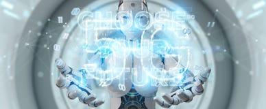 Femme blanche de cyborg employant le rendu de l'interface 3D des textes de future décision illustration stock