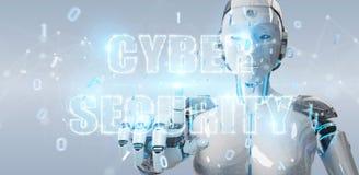 Femme blanche de humanoïde employant le rende de l'hologramme 3D des textes de sécurité de cyber Photo stock