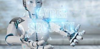 Femme blanche de humanoïde employant le rende de l'hologramme 3D des textes de sécurité de cyber Photographie stock