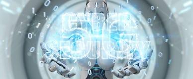 Femme blanche de humanoïde employant le rende de l'hologramme 3D des textes de sécurité de cyber Photos stock