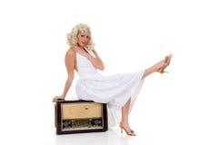 femme blanche de robe Photo stock