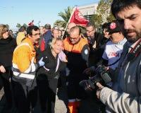 Femme blessé dans l'émeute espagnole. Photographie stock libre de droits