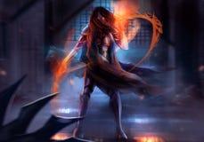 Femme blindée de guerrier illustration libre de droits
