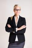 Femme blond attirant amical d'affaires. Image stock