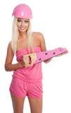 Femme blond avec la scie rose Photos stock
