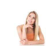 Femme blond avec le long cheveu Image stock