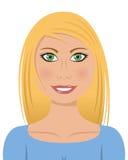 Femme blond avec les yeux verts Images libres de droits