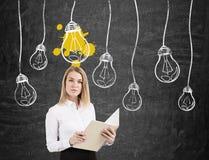 Femme blonde avec le carnet et ampoules sur des fils Photos stock